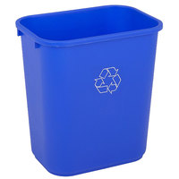 Continental 4114-1 41.25 Qt. / 10 Gallon Blue Rectangular Recycling Wastebasket / Trash Can