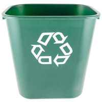 Rubbermaid FG295606GRN 28 Qt. Green Recycling Rectangular Wastebasket