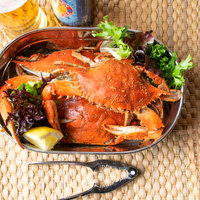 Linton's Seafood 5 1/4 inch Lightly Seasoned Steamed Medium Maryland Blue Crabs - 42/Case