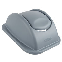 Rubbermaid 1779742 Untouchable 28 Qt. / 7 Gallon Gray Rectangular Soft Wastebasket Dome Swing Lid