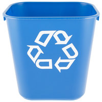 Rubbermaid FG295573BLUE 13 Qt. Blue Recycling Rectangular Wastebasket