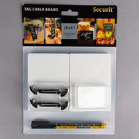 American Metalcraft TAGA7BL 4 inch x 3 inch Mini White Chalk Cards and Marker Display Kit - 20/Pack