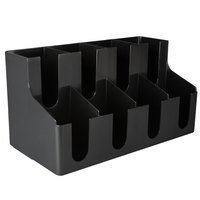 Choice 8 Section Black Cup and Lid Organizer - 16 inch x 8 1/4 inch x 8 3/4 inch