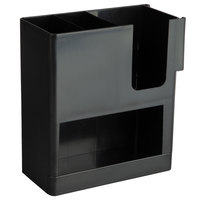 Choice 4 Section Black Cup, Straw, and Lid Organizer - 9 inch x 4 1/4 inch x 9 1/2 inch