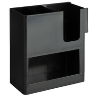 Choice Black 4-Section Countertop Cup, Lid and Straw Organizer