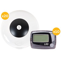 LRS Pronto One Button Push-For-Service System with 20 Push-Button Transmitters and 10 Staff Messaging Pagers