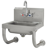 Advance Tabco 7-PS-64 Wall Mounted Hand Sink with Tubular Supports - 17 1/4 inch x 15 1/4 inch