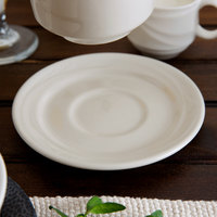 Oneida F1040000500 Espree 5 1/2 inch Cream White China Saucer   - 36/Case
