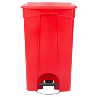 Lavex Janitorial 92 Qt. / 23 Gallon Red Rectangular Step-On Trash Can