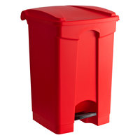 Lavex Janitorial 48 Qt. / 12 Gallon Red Rectangular Step-On Trash Can