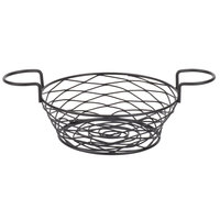 American Metalcraft BNBB83 Round Birdnest Black Metal Basket with 2 Ramekin Holders - 8 inch x 3 3/4 inch
