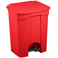 Lavex Janitorial 18 Gallon Red Rectangular Step-On Trash Can