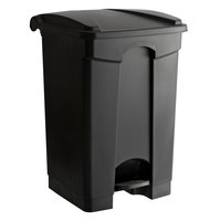 Lavex Janitorial 12 Gallon Black Rectangular Step-On Trash Can