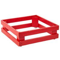 Frilich 5ST071 13 inch x 13 inch x 4 1/8 inch Square Vintage Red Wood Display Frame / Riser