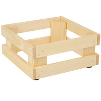Frilich 5ST056 9 inch x 9 inch x 4 1/8 inch Square Untreated Wood Display Frame / Riser