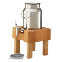 Frilich RMC030X004 3.2 Qt. Stainless Steel Milk Dispenser Set with Beech Wood Stand