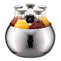 Frilich ESC060E003 5-Carafe Double Wall Hammered Stainless Steel Beverage Tub Set
