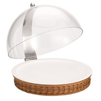Frilich 16 1/8 inch Round Polypropylene Tan Wicker Cold Food Display Set with Hinged Cover