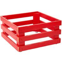 Frilich 5ST069 13 inch x 13 inch x 6 11/16 inch Square Vintage Red Wood Display Frame / Riser