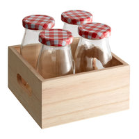 Acopa (12) 6 oz. Glass Milk Bottles with (12) Lids and (3) Wooden Crates