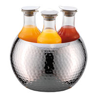 Frilich ESC036E003 3-Carafe Double Wall Hammered Stainless Steel Beverage Tub Set