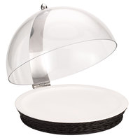 Frilich 16 1/8 inch Round Polypropylene Black Wicker Cold Food Display Set with Hinged Cover