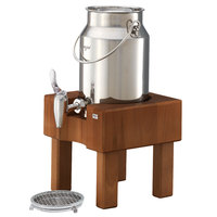 Frilich RMC030X005 3.2 Qt. Stainless Steel Milk Dispenser Set with Cherry Wood Stand