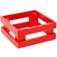 Frilich 5ST075 9 inch x 9 inch x 4 1/8 inch Square Vintage Red Wood Display Frame / Riser