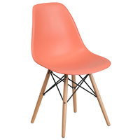 Flash Furniture FH-130-DPP-PE-GG Elon Series Peach Plastic Accent Side Chair with Wood Base