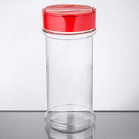 Choice 12 oz. Round Plastic Spice Storage / General Use Container with Red Dual Flapper Pour / Shake Lid