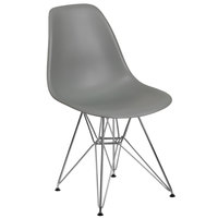 Flash Furniture FH-130-CPP1-GY-GG Elon Series Moss Gray Plastic Accent Side Chair with Chrome Base