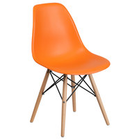 Flash Furniture FH-130-DPP-OR-GG Elon Series Orange Plastic Accent Side Chair with Wood Base