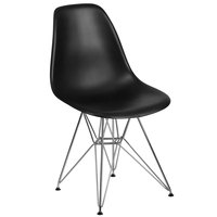 Flash Furniture FH-130-CPP1-BK-GG Elon Series Black Plastic Accent Side Chair with Chrome Base