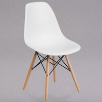 Flash Furniture FH-130-DPP-WH-GG Elon Series White Plastic Accent Side Chair with Wood Base