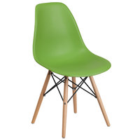 Flash Furniture FH-130-DPP-GN-GG Elon Series Green Plastic Accent Side Chair with Wood Base