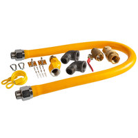 Regency 48 inch Mobile Gas Connector Hose Kit with 2 Elbows, Full Port Valve, Restraining Device, Quick Disconnect, and Swivel Connector - 1 inch