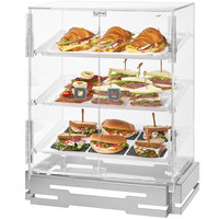 Rosseto BD138 2-Door Acrylic Pastry Cabinet with 3 Frosted Trays and Stainless Steel Base