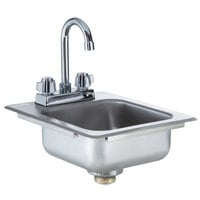 Regency 9 inch x 9 inch x 5 inch 18-Gauge Stainless Steel One Compartment Drop-In Sink with 8 inch Gooseneck Faucet