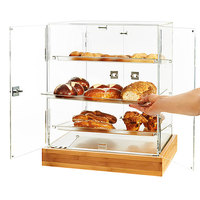 Rosseto BD139 2-Door Acrylic Pastry Cabinet with 3 Frosted Trays and Natural Bamboo Base