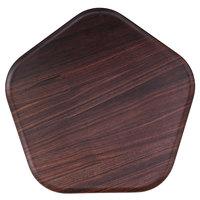 Rosseto MEL028 Forme' 12 3/16 inch x 12 3/16 inch Polygon Walnut Melamine Tray - 3/Pack