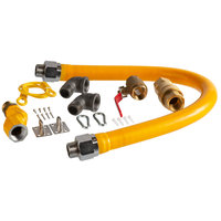 Regency 36 inch Mobile Gas Connector Hose Kit with 2 Elbows, Full Port Valve, Restraining Device, Quick Disconnect, and Swivel Connector - 1 inch