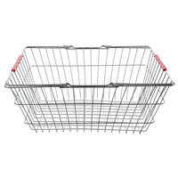 Regency 18 inch x 13 inch x 8 inch Chrome Grocery Shopping Basket with Red Handles
