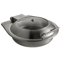 Rosseto SM289 Multi-Chef Diamond 6.3 Qt. Brushed Stainless Steel Round Chafer with Lid