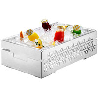 Rosseto SM112 Iris 21 1/2 inch x 13 1/2 inch Brushed Stainless Steel Ice Housing with Acrylic Tub