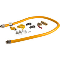 Regency 72 inch Mobile Gas Connector Hose Kit with 2 Elbows, Full Port Valve, Restraining Device, Quick Disconnect, and Swivel Connector - 3/4 inch