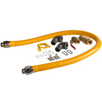 Regency 60 inch Mobile Gas Connector Hose Kit with 2 Elbows, Full Port Valve, Restraining Device, and Quick Disconnect - 1 inch