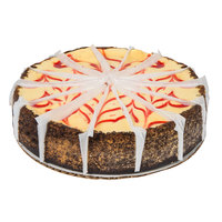 Pellman 60 oz. 9 inch Pre-Cut Strawberry Swirl Cheesecake   - 6/Case