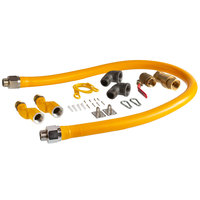 Regency 60 inch Mobile Gas Connector Hose Kit with 2 Elbows, Full Port Valve, Restraining Device, Quick Disconnect, and 2 Swivel Connectors - 1 inch