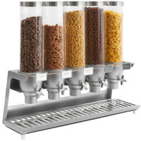 Rosseto EZ558 EZ-SERV 4.9 Liter Five Canister Tabletop Snack / Cereal Dispenser with Stainless Steel Base and Catch Tray