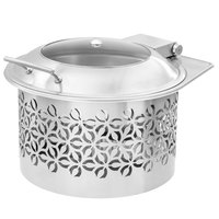 Rosseto SM288 Iris 6.3 Qt. Round Brushed Stainless Steel Chafer Warmer with Lid